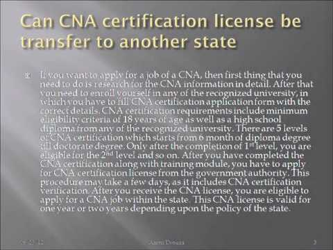 Can CNA certification license be transfer to another state