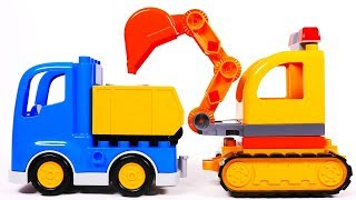 Lego Duplo Building Blocks Learn Colors with Excavator and Dump Truck