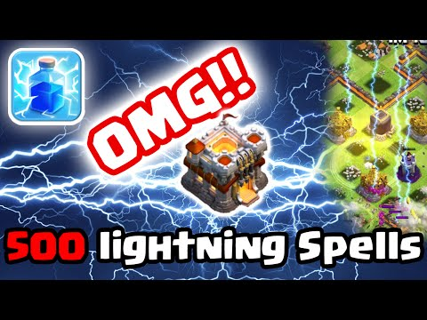 Clash of Clans - 500 Lightning Spells On Single Village