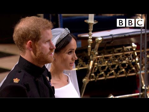 God Save the Queen | Prince Harry and Meghan Markle leave the chapel - The Royal Wedding - BBC