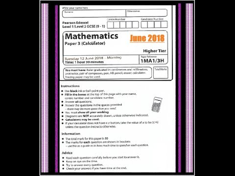 Edexcel GCSE 9-1 Math - Calculator Question Paper 3H - June 2018