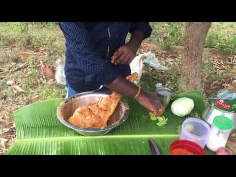 Mutton leg roast (Lamb leg roast)cooked in mud oven style in My Village