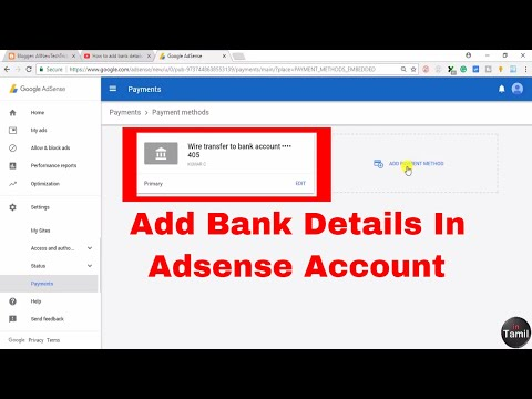 Add Bank Details to Adsense Account in tamil - Add Bank account in Adsense