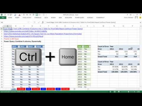 Excel Magic Trick 1210: Power Query to Combine 4 Columns into 1 Table For PivotTable Report