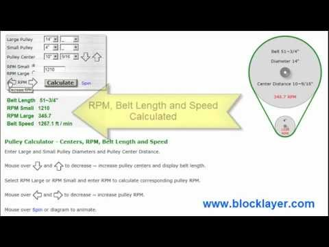 Pulley Belt Length, Speed  and RPM Calculator