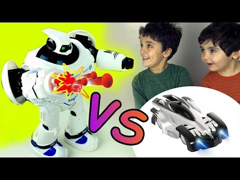 BIG ROBOT VS WALL CLIMER CAR! OUR TOYS CHALLENGE, Let's Play Kids