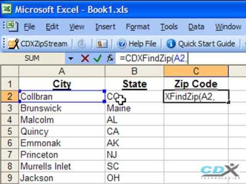 Zip Code Finder in Excel