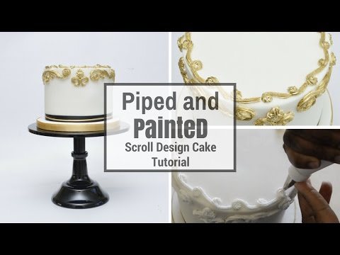 Royal Icing : How to pipe and paint a scroll design on cake tutorial by Busi Christian-iwuagwu