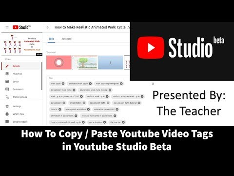 How to Copy and Paste Youtube Video Tags in Youtube Studio Beta
