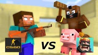 Minecraft : CS:GO VS Clash Royale Challenge - Craftronix Animation