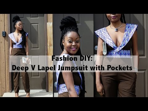 Deep V Lapel Jumpsuit Ankara African Print Fashion DIY Tutorial Video