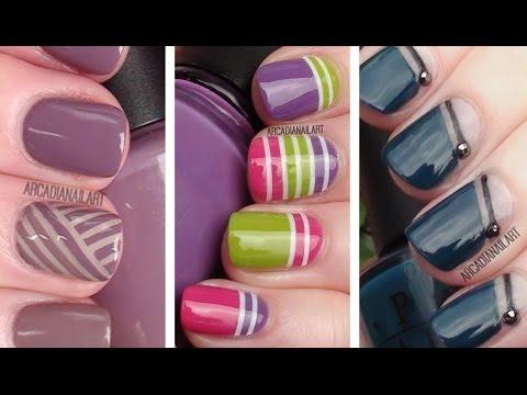 3 Striping Tape Easy Nail Art Designs | Nail Art For Beginners | ArcadiaNailArt