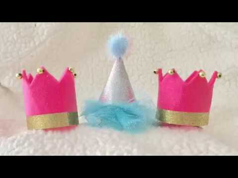 Tiara crown and birthday party hat hair clip craft tutorial
