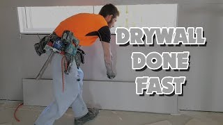 Drywall Construction Workers Sheet Room in Minutes