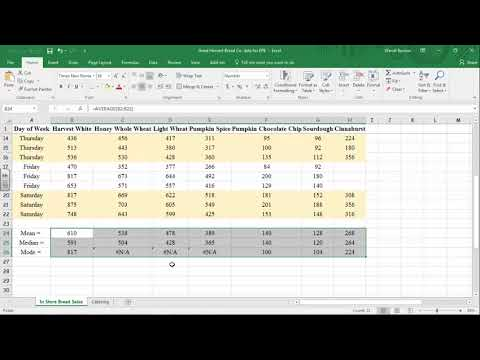 The Mean, Median, and Mode in Excel 2016