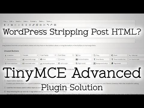TinyMCE Advanced - Stop WordPress Stripping HTML in Editor