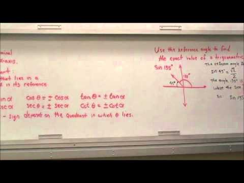 Daniel Fritz Mathematics: Determine the Reference Angles and it's Trig Functions by the Quandrant.