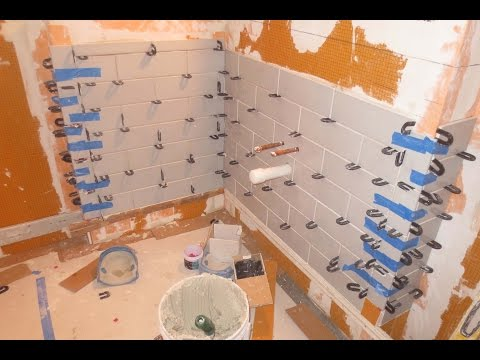 Complete bathroom Schluter systems products, Part 4 lower subway tile install