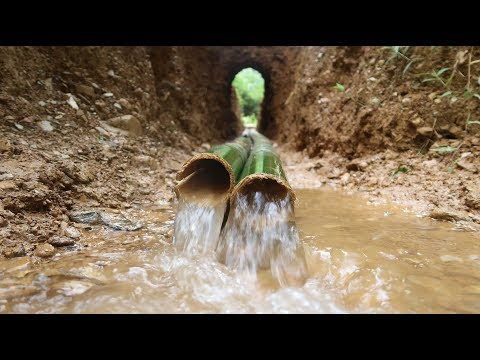 Primitive Technology: Build solidly Drainage tunnel by bamboo pipe - Part 2