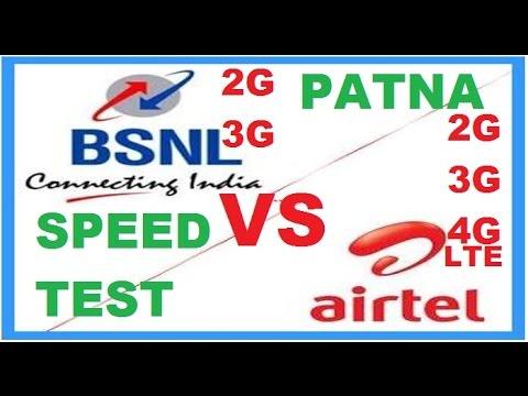 Speed test Bsnl 2G/3G vs airtel 2G/3G/4G at Patna,Bihar on 01 jan 2017