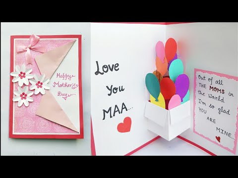 DIY Mother's Day Card/Mother's Day Pop up card making/Pop Up Balloon Card for Mom