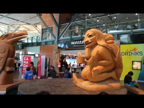 A long, walking tour of the Vancouver, British Columbia airport (YVR)