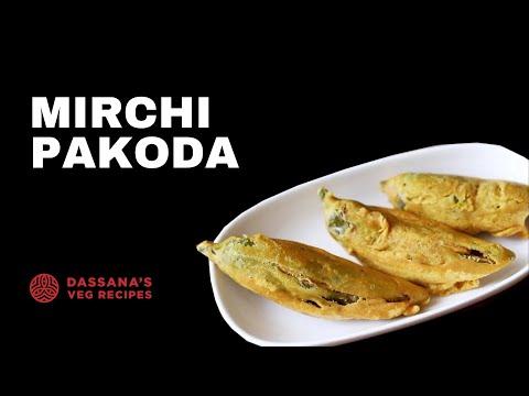 mirchi pakora recipe - how to make mirchi pakoda recipe | mirchi bajji
