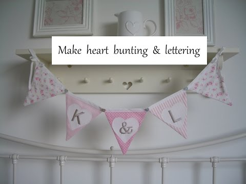 Making pink heart bunting with lettering