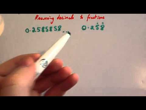 Recurring decimals to fractions - Corbettmaths