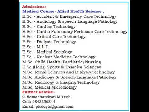 scope of  10 Paramedical and   medical  College in Tamilnadu
