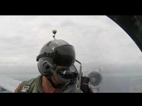 View from the cockpit of US A-10 jet during Memorial Day show