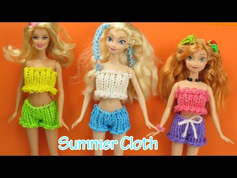 Loom Bands Summer Clothes Frozen Elsa, Anna, Barbie Wearable - How to | Elegant Fashion 360