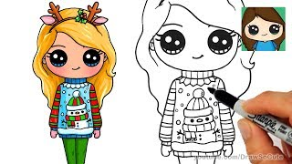 How to Draw a Cute Girl in Christmas Ugly Sweater
