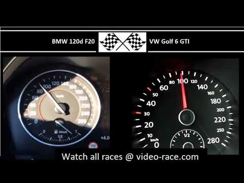 BMW 120d F20 VS. VW Golf 6 GTI - Acceleration 0-100km/h