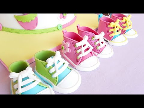 Fondant Baby Shoes video tutorial ( Converse Cake Topper 1)