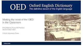 Making the most of the Oxford English Dictionary in the classroom (UK version)