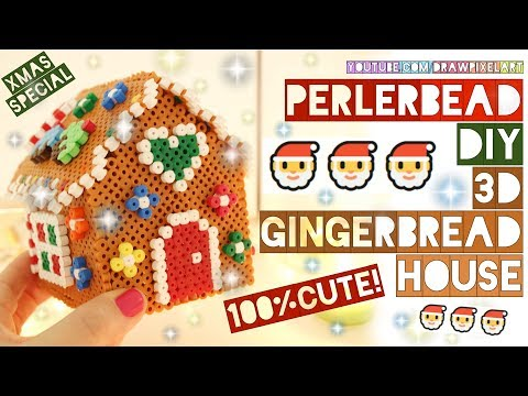 DIY 3D gingerbread house sweet decorated | 100% cute | perler beads | christmas | draw pixel art