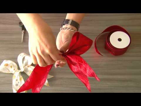 How to make a double looped Bow for Christmas trees or Wreaths