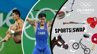 Diving vs. Weighlifting with Lü Xiaojun & Chen Aisen | Sports Swap
