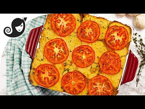 Vegan Savoury Bread Pudding - Eggless Recipe | Vegan Brinner Collab