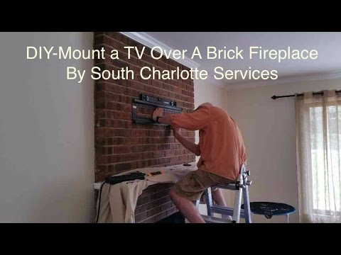 Easy Brick Fireplace TV Articulated Wall Mounting DIY Video Charlotte NC