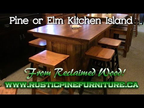 Rustic Pine Kitchen Island, from reclaimed pine, Mennonite Furniture Barrie Ontario.