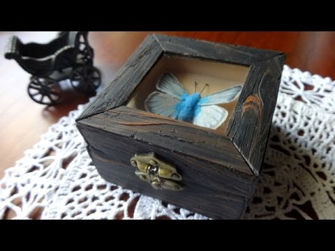 Polymer Clay Antique Box+Butterfly Tutorial | With Paper Mache Box