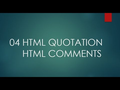 HTML5 tutorial for beginners in hindi |04- html quotations & html comments