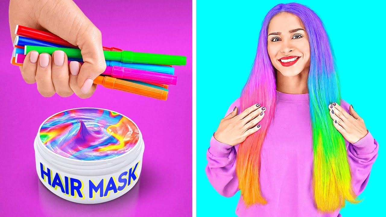 COOL RAINBOW HACKS || Colorful Girly Hacks And DIY Ideas By 123 GO Like!