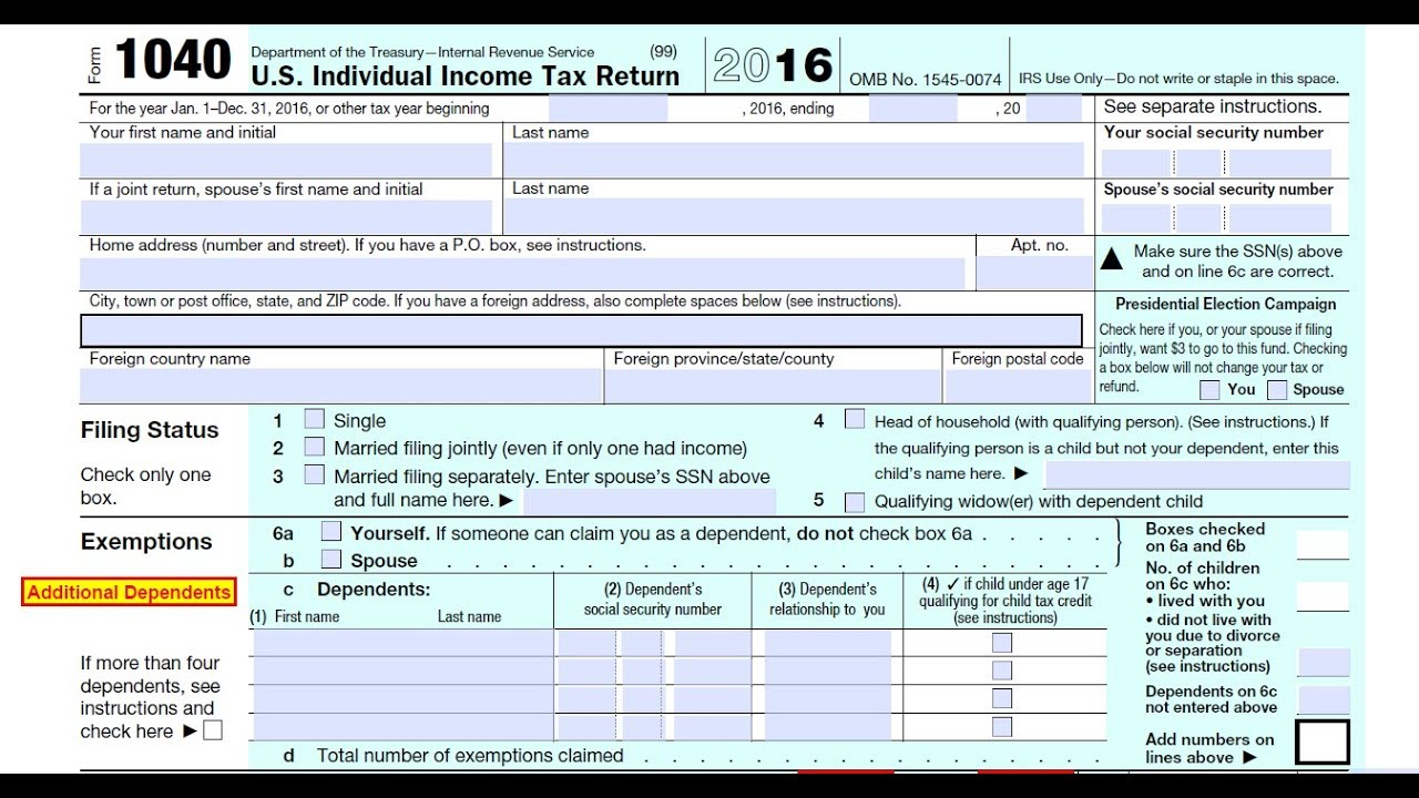 How to fill out a self-calculating Form 1040 Individual Income Tax Return