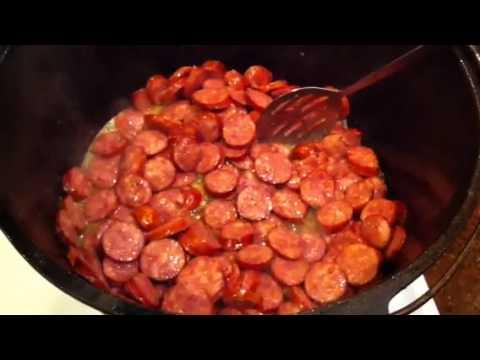 Cooking Jambalaya - browning sausage