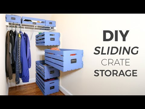 DIY Sliding Wood Crate Storage | Small Closet Upgrade