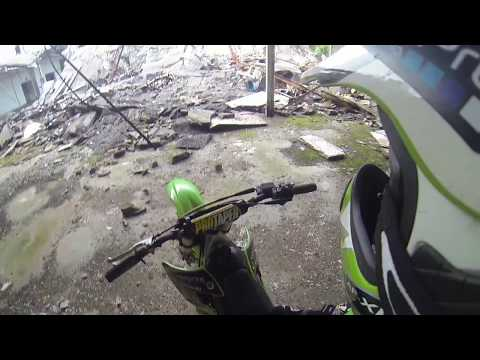 Exploring abandoned sewing plant on dirt bike KX 250 MONSTER