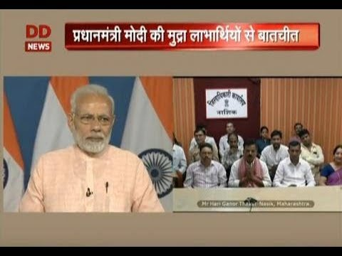 PM Narendra Modi interacts with Mudra Yojna beneficiaries from all over India